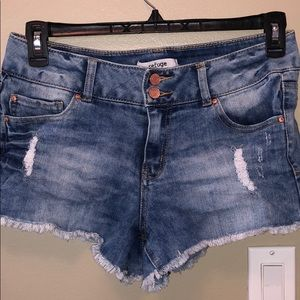 Charlotte Russe distressed denim shorts